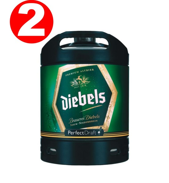 2 x Diebels Alt cerveza Perfect Draft barril 6 litros de 4,9% vol.