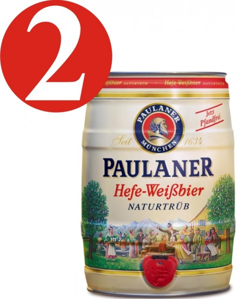 2 x Paulaner levadura cerveza blanca naturaleza nublado 5,5% vol 5 litros Fut de bière Allemande