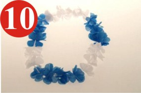 10 x Cadena de Hawaii.. .blau blanco