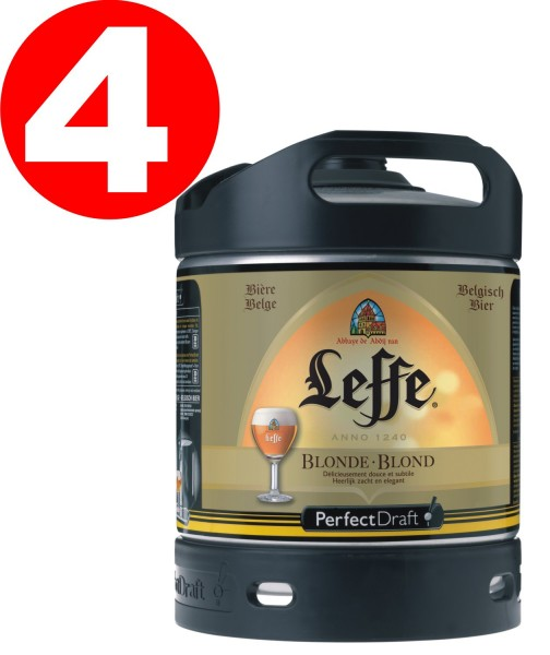 4x Leffe Blonde cerveza de Begica Perfect Draft 6 litros barril 6,6 % vol
