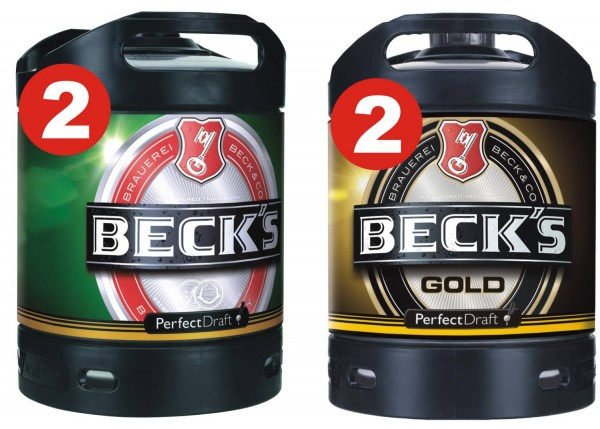 2 x Becks Pils + 2 x Becks Oro Perfect Draft 6 litros tambor 4,9% vol.