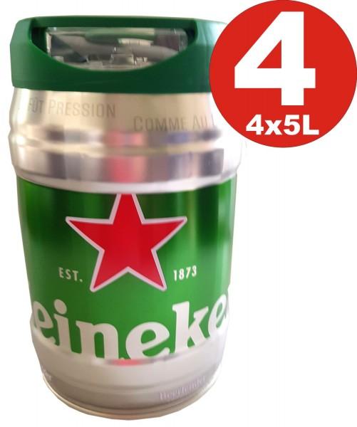 4 x Heineken barril de cerveza 5L DraughtKeg 5% vol.