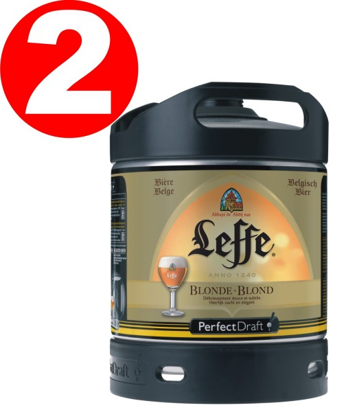 2 x Leffe cerveza de Bellgica Perfect Draft 6 litros barril 6,6 % vol.