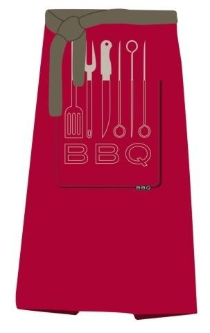 Delantal de barbacoa barbacoa 100x80cm rojo