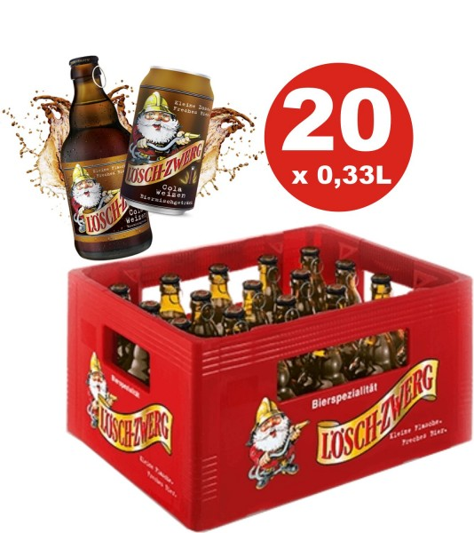 20 x Löschzwerg Cola de trigo 0,33l 2,8% vol.