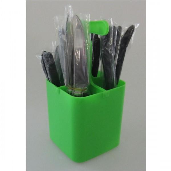 Set de cubiertos de 17 piezas hombre antorcha verde