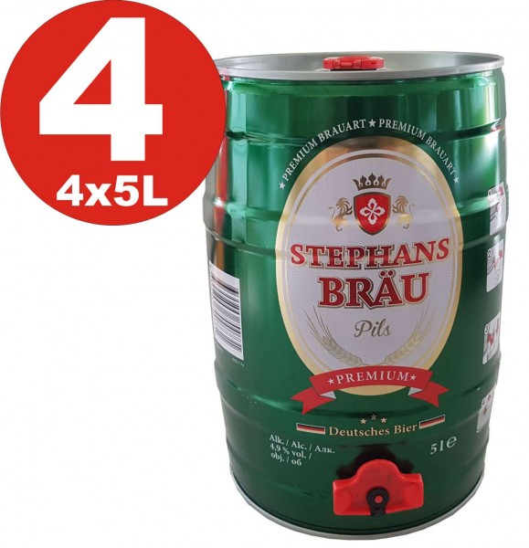 4 x Stephans Braeu Pils 5 litros 4,9% vol. barrilete