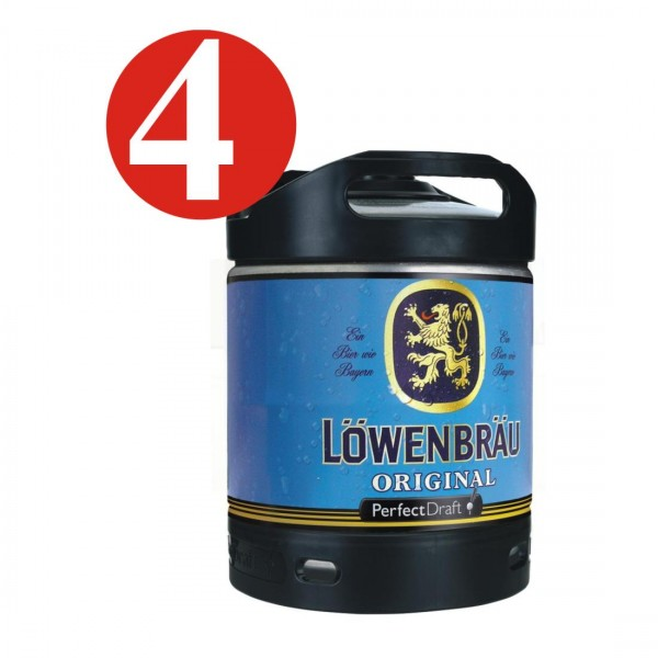 4 x Lowenbrau originales cerveza Perfect Draf 6 litros barril 5,2% vol
