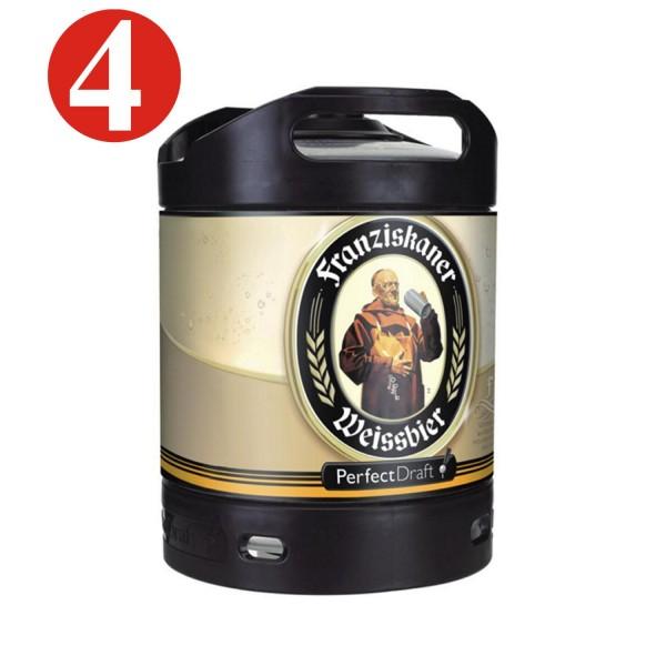4x Franziskaner Weissbier cerveza de trigo Perfect Draft 6 litros barril 5,0% vol