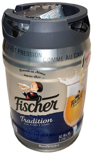 Fischer cerveza rubia de 5 litros 6,0% vol. Parte barril con grifo