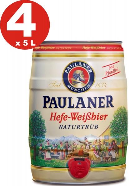 4 x Paulaner levadura cerveza blanca naturaleza nublado 5,5% vol 5 litro partido barril