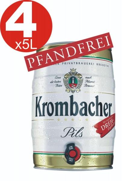 4x Krombacher barril de 5 litros de 4,8% vol