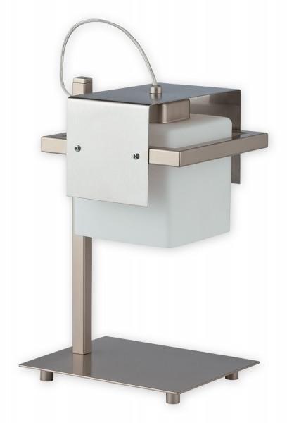 Lemir Tronto lámpara de mesa 1 de la llama / acero inoxidable + acero inoxidable Sombra: vidrio de 20 x 16