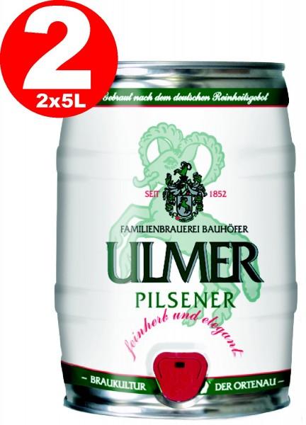 2 x Ulmer Partido Pilsner barril de 5,0 litros 5,2% vol. consunir antes de 12/19