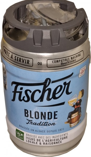 Birra bionda Fischer 5 litri 6,0% vol. con rubinetto Fusto per feste EINWEG MONOUSO