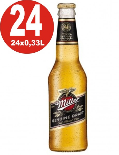 24 botellas Miller Genuine Draft cerveza EE. UU. 0,33L 4,7% vol. alc