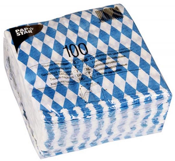 1 paquete x 100 Tejido - Servilletas Bayernraute Bayrisch azul 16x16 cm