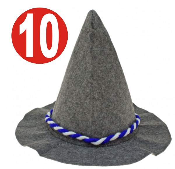 10 x Soplo pesado gris Seppelhut con cordón azul / blanco para Oktoberfest 33 cm
