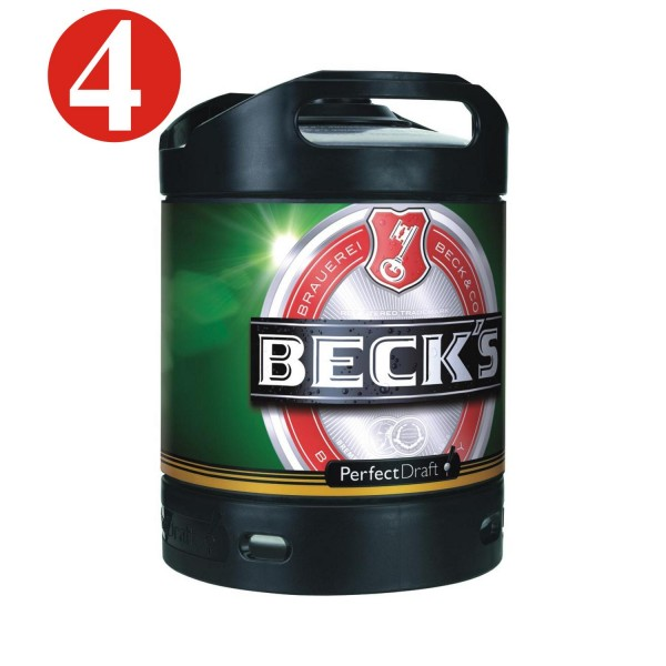 4x Beck Pils Perfect Draft cerveza 6 litros barril 4,9% vol