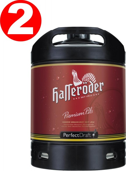2 x Hasseroeder Perfect Draft barril de cerveza Premium Pils 6 litro 4,9% vol.