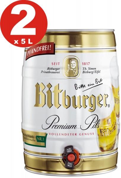 2 x Bitburger Pils premium 5 litros barril de fiesta 4,8% vol