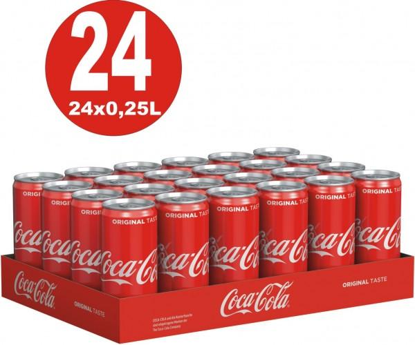 24 x pequeñas latas Coca-Cola Classic 0.25L