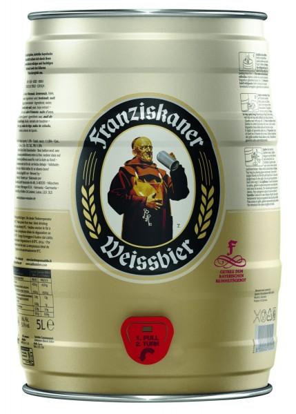Franziskaner REDUCIDO Hefe Weiss cerveza Naturaleza nublado 5 L Partido barril 5.0% vol. MHD 04/19