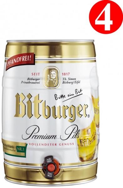 4x Bitburger Pils Prima 5 litros partido barril