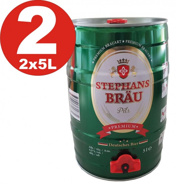 2 x Siephans Braue 5 litres 4,9% vol. tonnelet barrilete