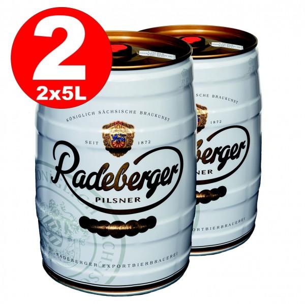 2 x barril de fiesta de 5 litros Radeberger Pilsener 4,8% vol - Depósito desechable