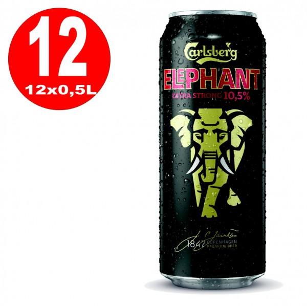 Latas de 12x 0,5L Cerveza Carlsberg Elephant Cerveza extra fuerte y fuerte 10.5% Vol EINWEG