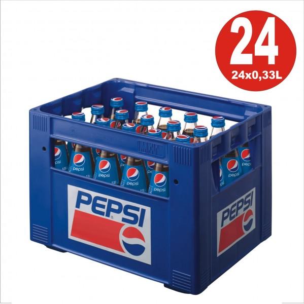 24 x botella de vidrio Pepsi-Cola 0.33L en su caja original