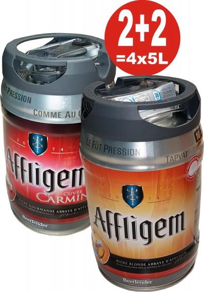 2 x Affligem rubia 2 x Affligem Cuvée Carmine 5 litros barril incl. Espita