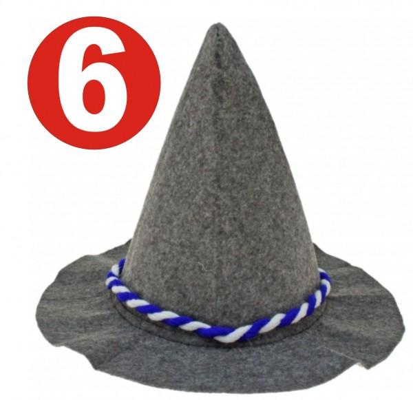 6 x Soplo pesado gris Seppelhut con cordón azul / blanco para Oktoberfest 33 cm
