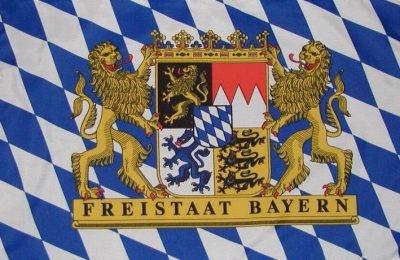 Bandera de Bavaria con escudo de estado libre 90 x150 cm