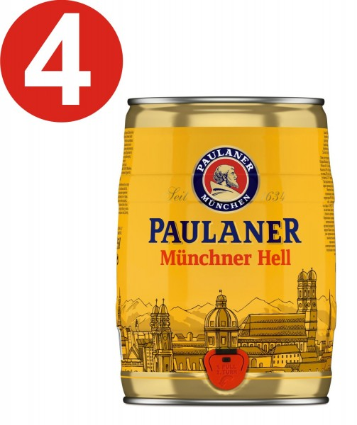 4 x Paulaner Münchner infierno 5 litros cerveza barril vol 4,9%