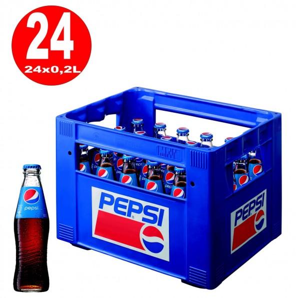 24 x botella de vidrio Pepsi-Cola 0.2L en su caja original