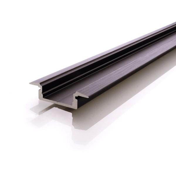 Perfil Reprofil ET-01-12 plana 2m negro anodizado mate