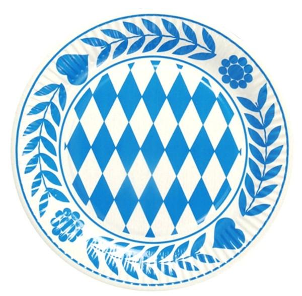 10 piezas de placas Bayern, cartón redondo diámetro 23 cm azul bávaro