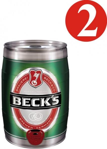 2x Becks Pils 5 litros barril de fiesta 4,9% vol.alc.
