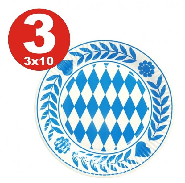 3 x 10 piezas de placas Bayern, cartón redondo diámetro 23 cm azul bávaro