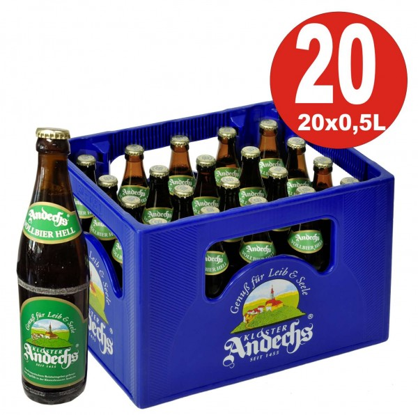 20 x Andechser Vollbier hell 0.5l - 4.8% vol. Caja original de alcohol