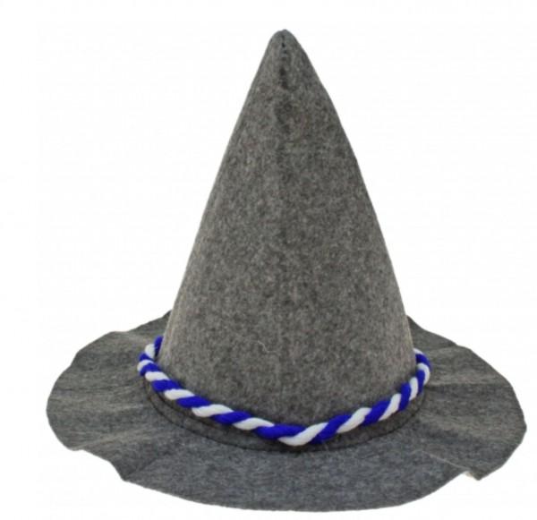 Soplo pesado gris Seppelhut con cordón azul / blanco para Oktoberfest 33 cm