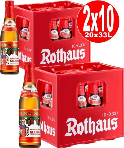 20 x Rothaus Schwarzwald Maidle 0,33l 5,1% vol. 2 x 10er funda original