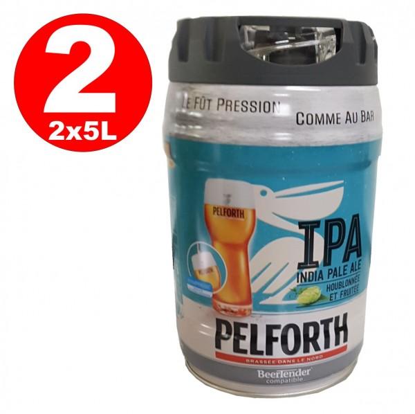 2 x Pelforth IPA India Pale Ale Lúpulo y frutas Barril de fiesta de 5 litros 5.9% vol. desechable
