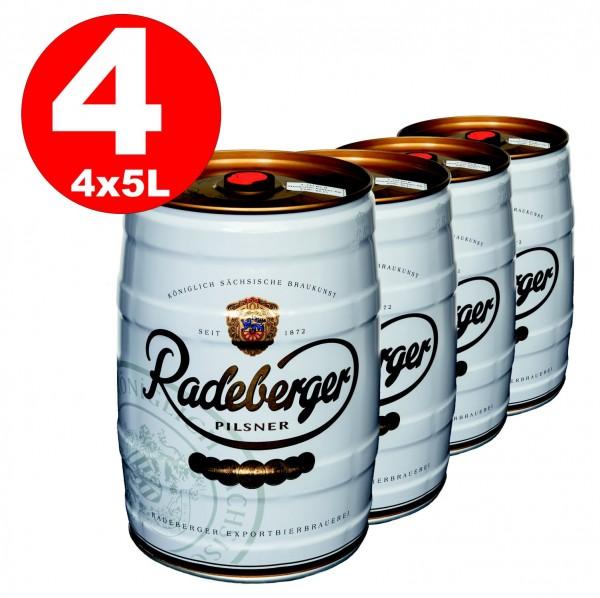 4 x barril de fiesta de 5 litros Radeberger Pilsener 4,8% vol - desechable